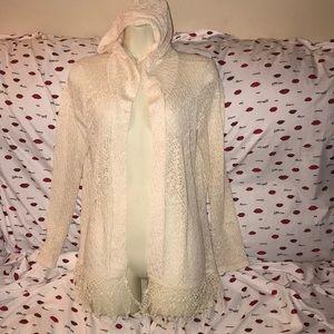 Annianna cream hooded sheer cardigan Medium 💕